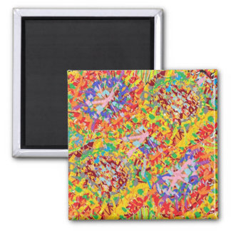 NAVEEN All Smiles: Abstract Flower Patterns Square Magnet