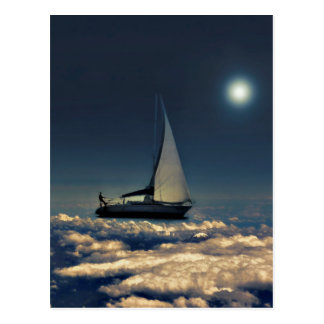 Navigating Trough Clouds Dreamy Collage Postcard