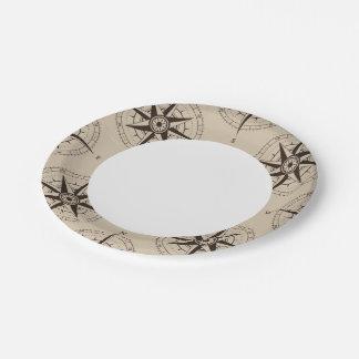 Navigation Compass Pattern Paper Plate