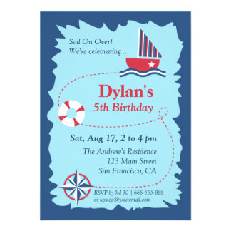 Navigation Map Nautical Birthday Party Personalized Invitation