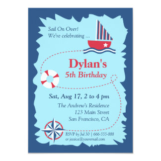 Navigation Map, Nautical Birthday Party Personalized Invitation