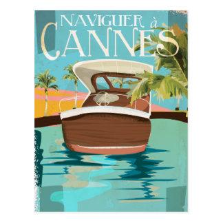 naviguer à Cannes (sail to) Vintage Travel poster Postcard