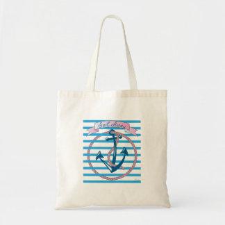 """""""Naviguez loin"""" l'ancre nautique avec la corde Sac En Toile Budget"""