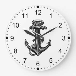 Navy Anchor And Rope Large Clock