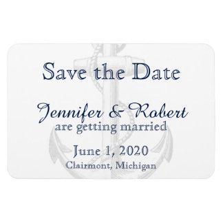Navy Anchor Beach Wedding Save the Date Rectangular Photo Magnet