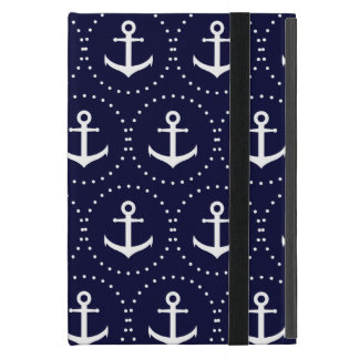 Navy anchor circle pattern case for iPad mini