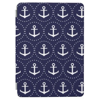 Navy anchor circle pattern iPad air cover