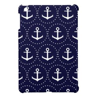 Navy anchor circle pattern iPad mini case