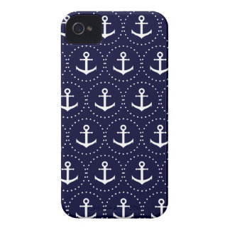 Navy anchor circle pattern iPhone 4 case
