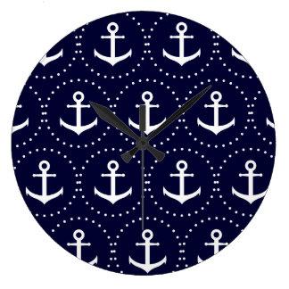 Navy anchor circle pattern large clock