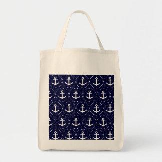 Navy anchor circle pattern tote bag