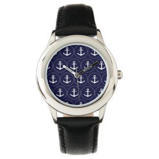 Navy anchor circle pattern watch