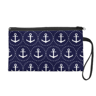 Navy anchor circle pattern wristlet