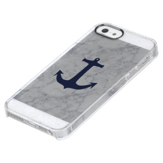 Navy anchor marble phone case