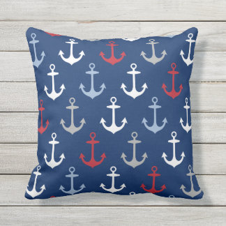 Navy Anchor Pattern | Nautical Red White and Blue Outdoor Pillow