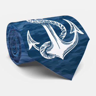 Navy Anchor Sea Background Tie