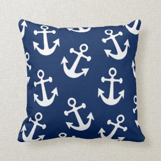 Navy Anchor Throw Pillow