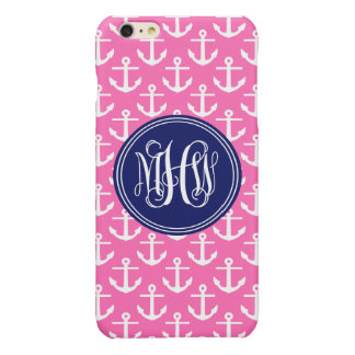 Navy Anchors Hot Pink, 3 Init Vine Script Monogram