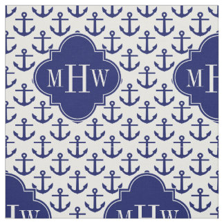 Navy Anchors White BG, Navy 3 Initial Monogram Fabric