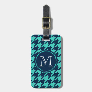 Navy and Aqua Houndstooth Luggage Tag