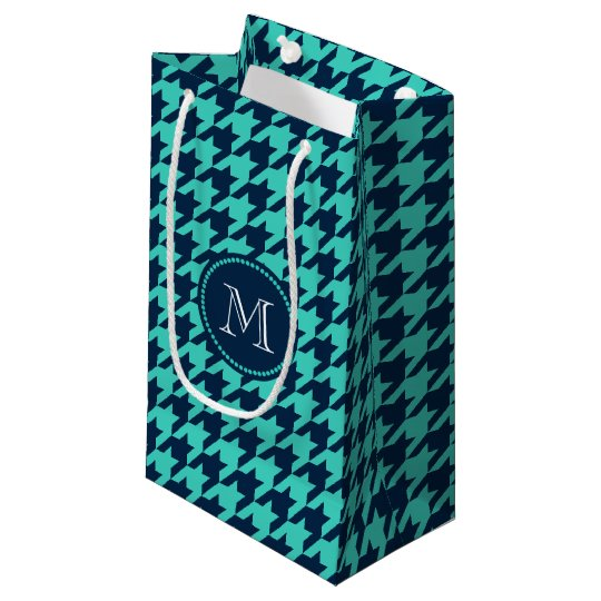 Navy and Aqua Houndstooth Small Gift Bag