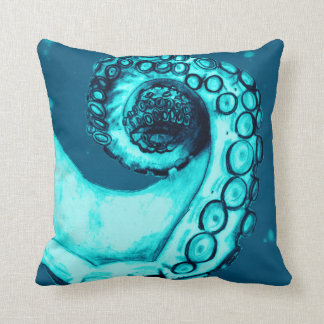 Navy and Aqua Nautical Octopus Tentacle Pillow