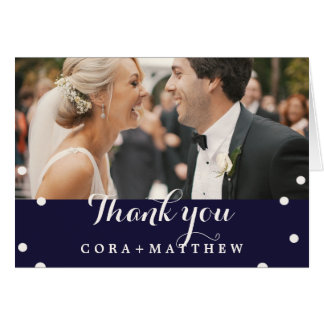 Navy and Beige Calligraphy Overlay Photo Thank You Card
