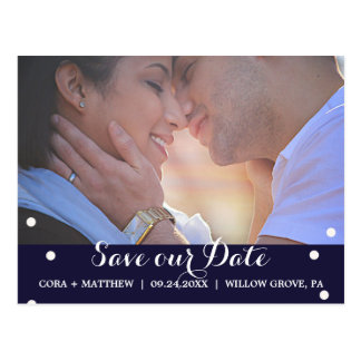 Navy and Beige Script Overlay Save the Date Photo Postcard