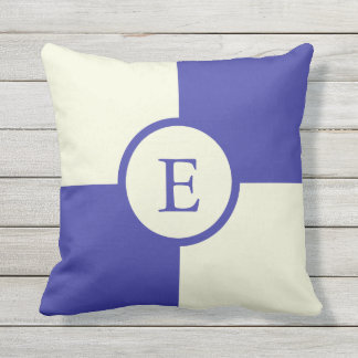 Navy and Beige Squares Design Monogram Pillow