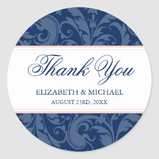 Navy and Blush Pink Damask Swirl Wedding Thank You Classic Round Sticker