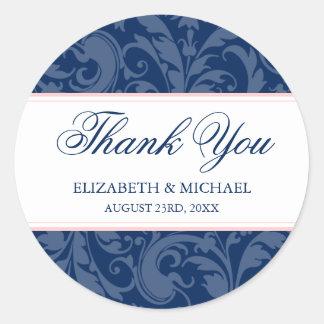 Navy and Blush Pink Damask Swirl Wedding Thank You Round Sticker