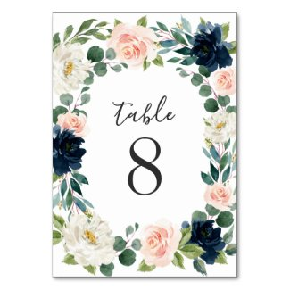 Navy and Blush Pink Floral Chic Watercolor Wedding Table Number