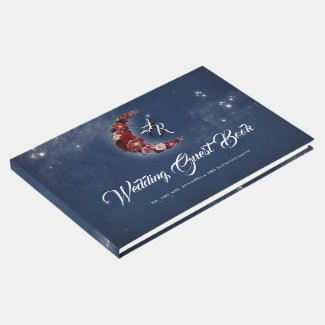 Navy and Burgundy | Floral Moon Celestial Wedding Guest Book