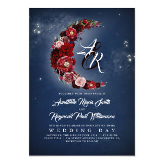 Navy and Burgundy Floral Starry Night Moon Wedding Card