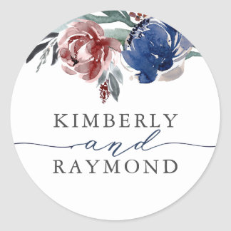 Navy and Burgundy Flowers Watercolor Classic Round Sticker