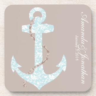 Navy and Coral Anchor Beach Wedding Coaster