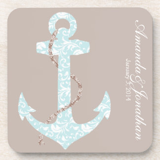 Navy and Coral Anchor Beach Wedding Coasters