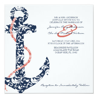 Navy and Coral Anchor Beach Wedding Invitation