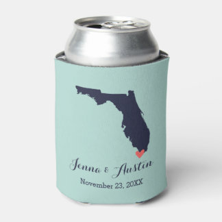 Navy and Coral Florida Wedding Favor Can Cooler