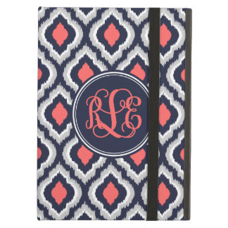 Navy and Coral Ikat Moroccan Script Monogram iPad Air Cover