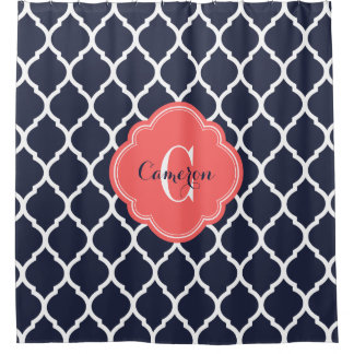 Navy and Coral Moroccan Quatrefoil Monogram