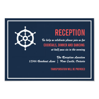 Navy and Coral Nautical Wedding Reception Card