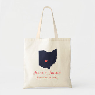 Navy and Coral Ohio Wedding Welcome Tote Bag