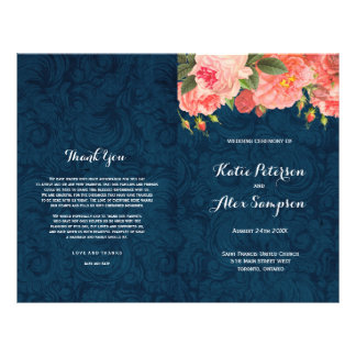 Navy and Coral Shabby Chic Floral Wedding Programs