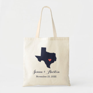 Navy and Coral Texas Wedding Welcome Tote Bag