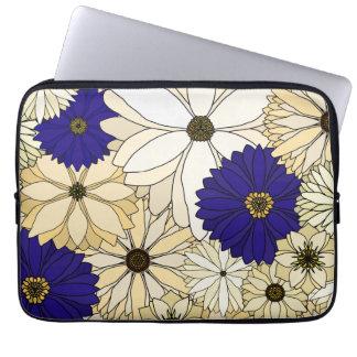 Navy and Cream Flower Laptop Sleeve