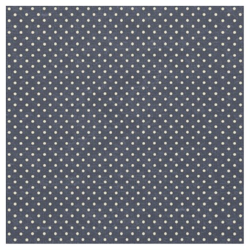 Navy and Cream Polka Dots Fabric