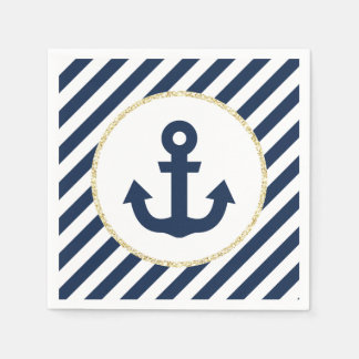 Navy and Gold Anchor Napkins Paper Napkins