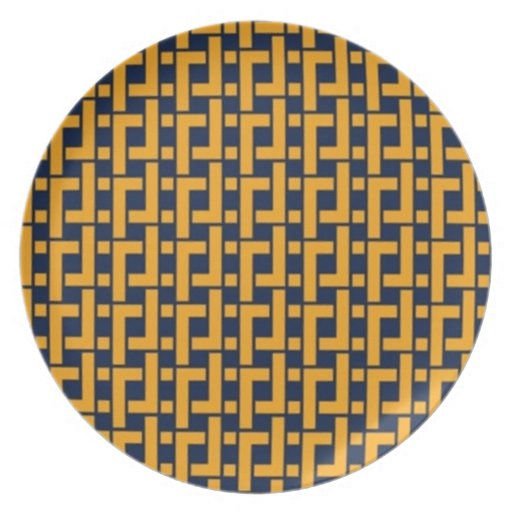 Navy And Gold Chevron Plate