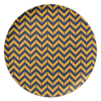 Navy and Gold Chevron Plate 3